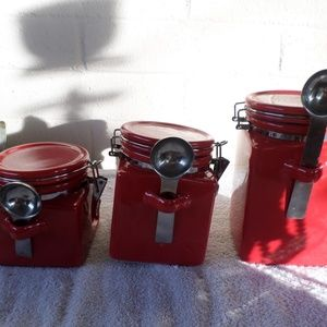 3 red  canisters set